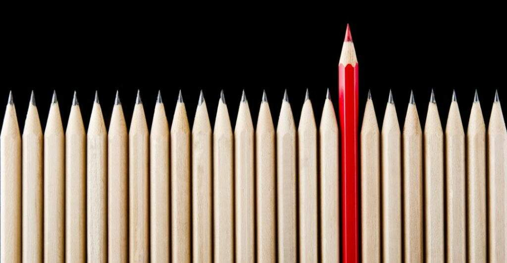 stand out, unique, red pencil