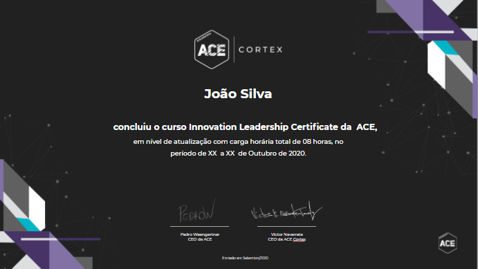 Modelo ilustrativo do Certificado do programa Innovation Leadership Certificate